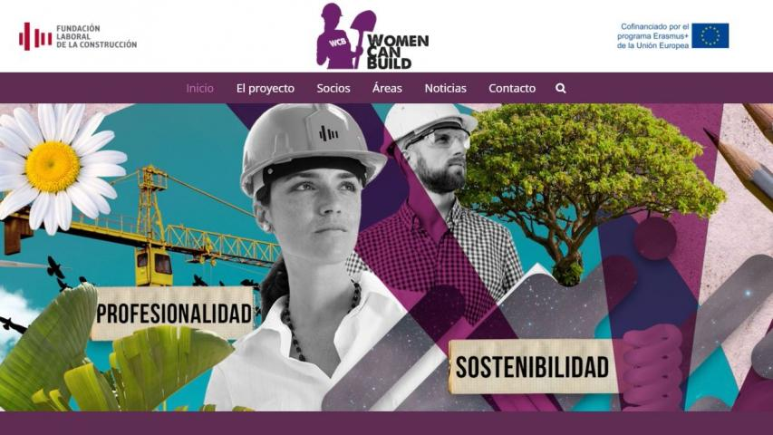 Home de la página web 'Women can Build'.